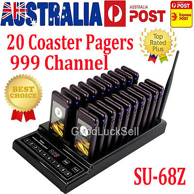 20 Call Guest Coaster Pager Restaurant Wireless Paging System 999Ch 433.92MHz AU