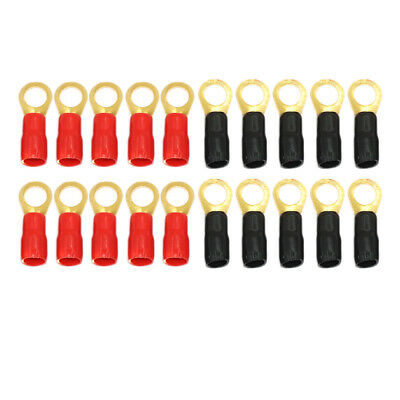 """20 Pack 4 AWG Wire Crimp Cable 4 Gauge Gold Ring Terminal Red//Black Boots 3//8/"""""""