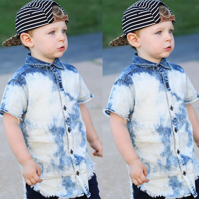 AU Stock Baby Kids Boy Button Front Denim Shirts Tops Jean Clothes T-shirts 2-7Y
