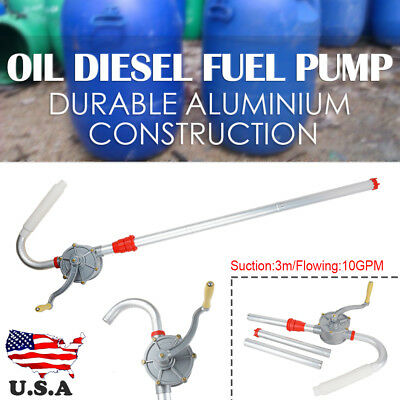 Aluminum Rotary Gas Oil Fuel Hand Pump 55 Gallons Self Priming Dispenser 10 GPM