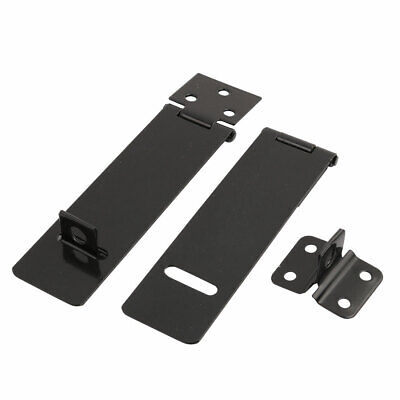 2 Sets Black Metal Rectangle Gates Door Mate Latch Hasp Staple 110*30mm