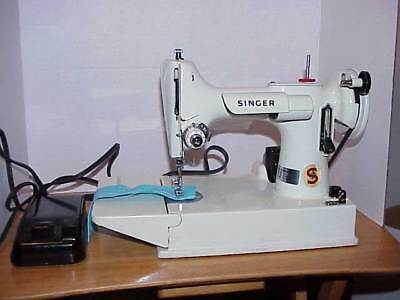 White Singer 221K Featherweight Sewing Machine & Case Red S Completely Serviced