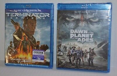 TERMINATOR Genisys & DAWN of the Planet of the Apes (2) BRAND NEW Sealed Blu-ray