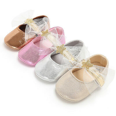 AU Stock Baby Girl Golden Lace Christening Prewalker Shoes 0-18M Warm Booties