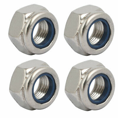 4pcs M12 x 1.25mm Pitch Metric Fine Thread 304 Stainless Steel Hex Lock Nuts