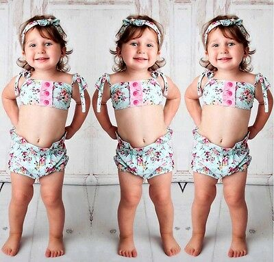 AU Toddler Infant Baby Girl Floral Swimsuit Swimwear Bikini Set 2pcs Beach Suit