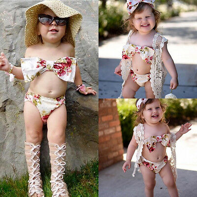 AU Toddler Kid Girl Flower Bow Bikini Set Swimsuit Swimwear Bathing Suit Tankini