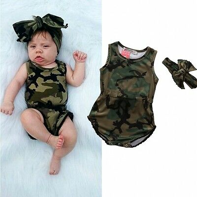 AU Cute Infant Baby Girls Camo Romper Bodysuit Jumpsuit Headband Clothes 0-24M