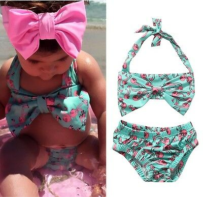 AU Toodler Baby Girl Bikini Suit Red-crowned Swimsuit Swimwear Beachwear Clothes
