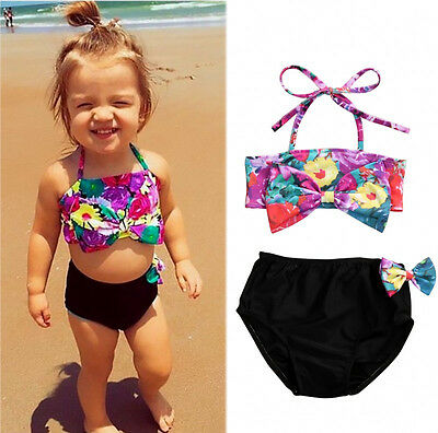 AU Toddler Kid Girl Bikini Suit Floral Swimsuit Swimwear Bathing Swimmer Clothes