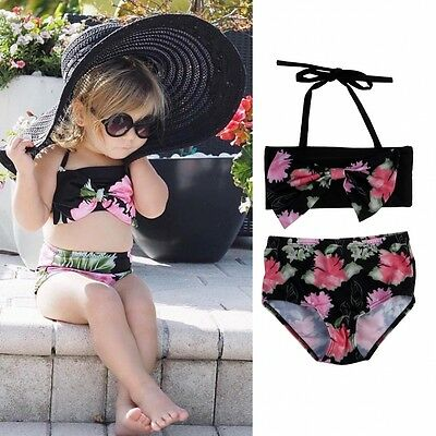 AU Flower Bow Toddler Kids Girl Bandage Bikini SetSwimwear Swimsuit Bathing Suit