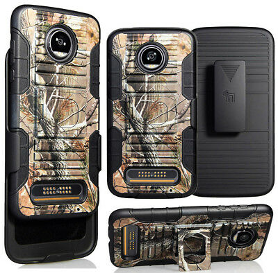 Camo Leaf Tree Grip Case Stand Belt Clip Holster For Motorola Moto Z2 Play/force