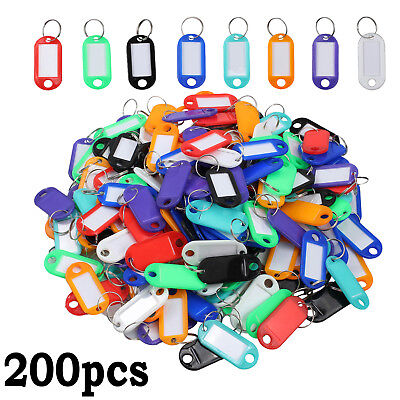 200 Pcs Coloure Plastic Key Tags Assorted Key Fobs Rings ID Tags Name Card Label
