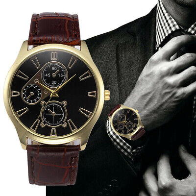 New Arrival Men's Watch Stainless Steel Leather Band Analog Quartz Wrist Watch