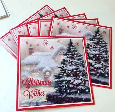 Christmas Cards Glitter Pack Of 12! 2 Designs FREE P&P
