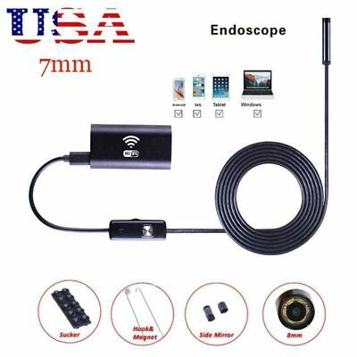 5M 7mm Endoscope 6LED Waterproof Borescope Inspection HD Camera fr PC Android AP