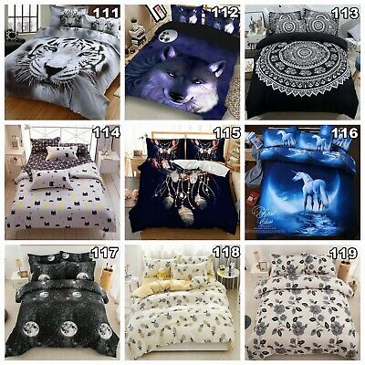 Tiger Duvet Doona Quilt Cover Set Double/Queen/King Size Galaxy Bed Pillowcases