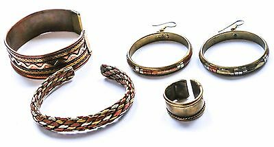 Set of Maroccan antique handmade jewelry ring, bracelets, earrings, brass copper