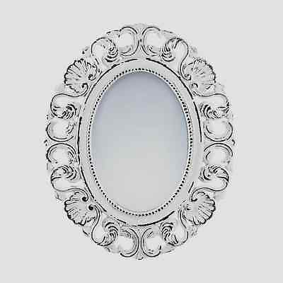 Antique-Style Off-White Oval Wall Mirror