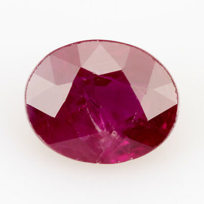 0.56 ct Ruby. Slightly Purple Red. No lead glass treatments. Highly polished.