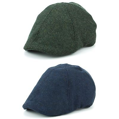 Duckbill Flat Cap Hat Wool Hawkins BLUE GREEN Driving Tweed Quilted Men  Ladies eb5a2f2d5e17