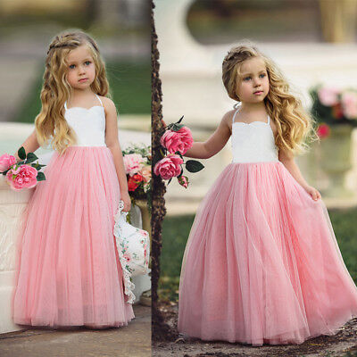 AU Stock Girls Princess Party Wedding Prom Bridesmaid Dress Tutu Halter Dresses