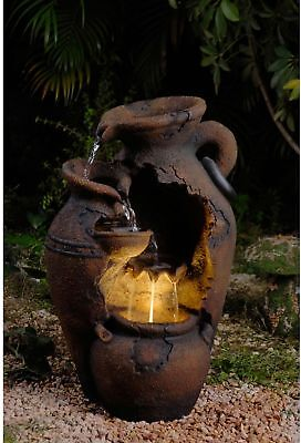 Vintage Pot LED-Lit Water Fountain Outdoor Fall Yard Garden Porch Patio Decor