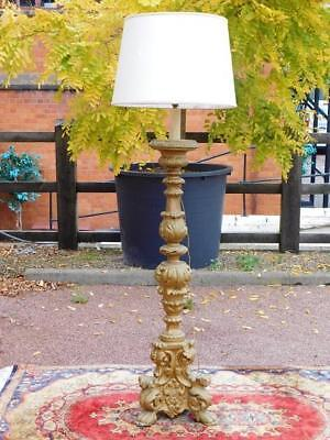A Stunning French Antique Gesso Gilt Floor Standing Standard Lamp