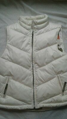 old navy womens small ivory coast to coast puffer zip up vest camo lining