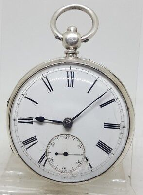 Antique solid silver gents fusee London pocket watch 1867 working