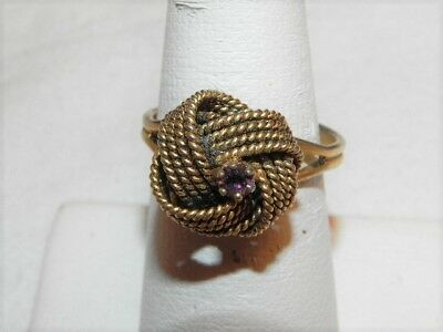 Vintage Braided Gold Tone Love Knot Ring Purple Rhinestone Adj.