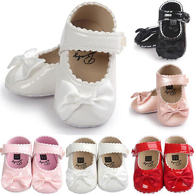 Newborn Baby Girl Bowknot Leater Shoes Sneaker Anti-slip Soft Sole Toddler 2018