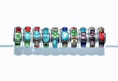 AAA rondelle spacer beads, silver, multi-coloured, option for size 6 mm & 8 mm