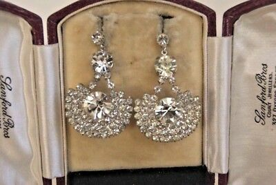 VINTAGE ART DECO LARGE RHINESTONE CRYSTAL FAN SHAPE PENDANT EARRINGS 4.0CM 13.3g