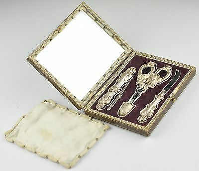 19th century Sewing etui set, silver, mirror , thimble, scissors, needle + BOX