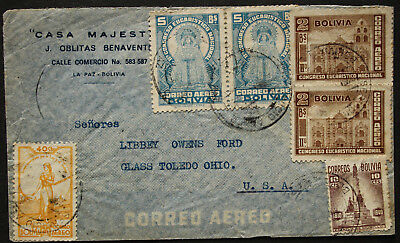 Bolivia 1938-41 Stamps on Commercial Air Mail Cover from La Paz to Toledo, Ohio