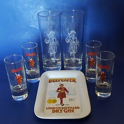 Beefeater London Dry Gin Vintage Tin Tip Tray +2 Collins Glasses +4 Shot Glasses