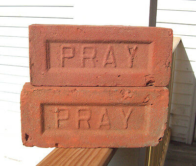 "2 Lot ANTIQUE ""PRAY"" BRICK  New England GREENFIELD MA  Brickyard (Red Clay) ~A~"