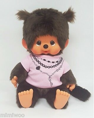 Monchhichi L Size Plush Super Soft Head Sitting MCC Girl with Pink Tee