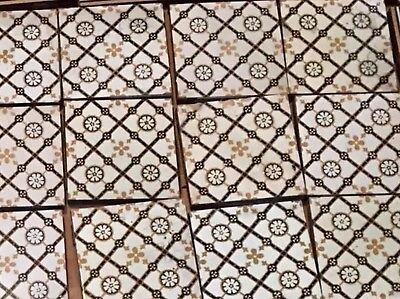 """30 maw&co Victorian tiles Minton Black Gold And White 6"""" Gothic Style"""