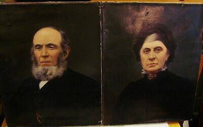 Antique19th Century c.1850 Pair of Portraits English England Couple Oil Painting