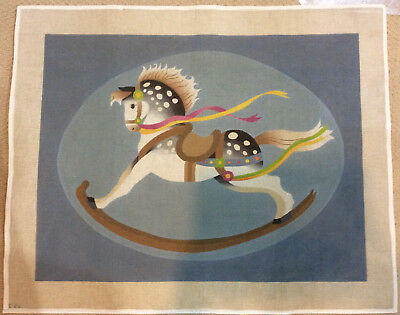 Rocking Horse Rug -Hand Painted Needlepoint Canvas-11 count canvas