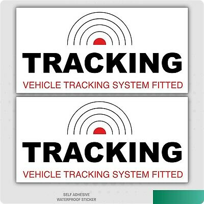 2 x TRACKING VEHICLE TRACKER SYSTEM FITTED CAR STICKER DECAL WINDOW DASHBOARD