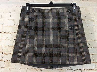 GAP Plaid Wool Blend Fully Lined Mini Skirt Size 4  (S4)