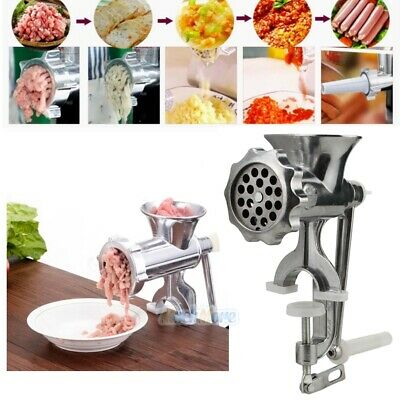 Stainless Steel Cast Iron Manual Meat Grinder Table Home Hand Mincer Vintage US