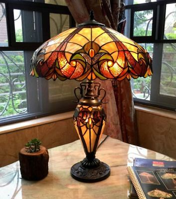 Table Lamp 2 Light Lit Base Stained Hand Cut Glass Tiffany Style Bronze Finish