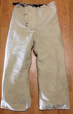 Vintage White 1983 Janesville Firefighter Bunker Turnout Pants w/ Susp. 32 x 28