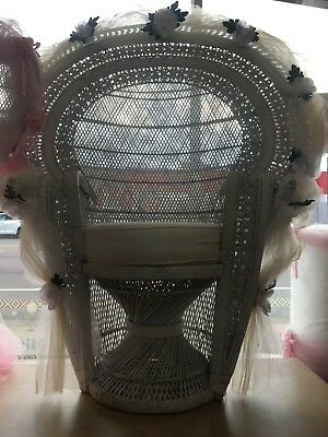 White Bridal Wicker Chair. With White Tulle Decoration.