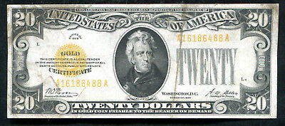Fr 2402 1928 $20 Twenty Dollars Gold Certificate Currency Note Very Fine