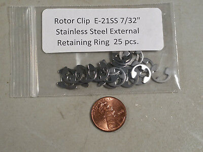 "7/32"" E-Style External Stainless Steel Retaining Rings ROTOR CLIP SE-21SS 25 pc."